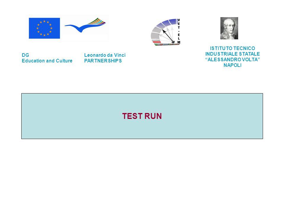 TEST RUN Leonardo da Vinci PARTNERSHIPS DG Education and Culture ISTITUTO TECNICO INDUSTRIALE STATALE ALESSANDRO VOLTA NAPOLI