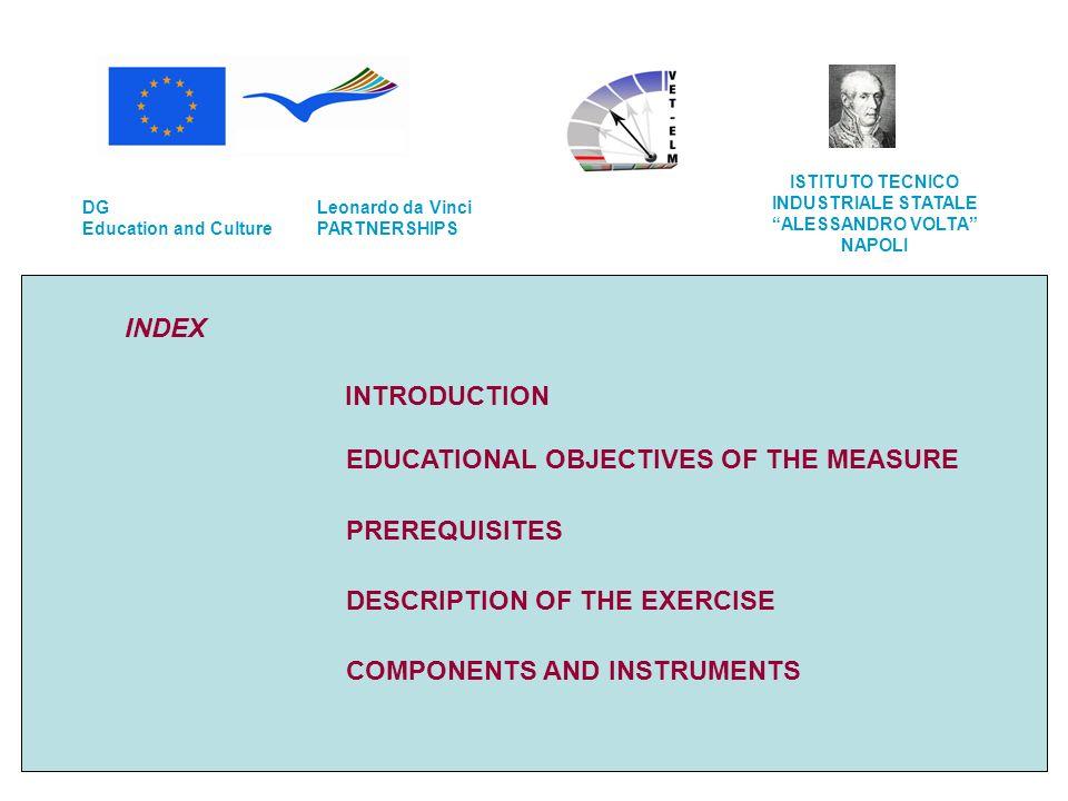 INDEX INTRODUCTION EDUCATIONAL OBJECTIVES OF THE MEASURE PREREQUISITES DESCRIPTION OF THE EXERCISE COMPONENTS AND INSTRUMENTS Leonardo da Vinci PARTNE