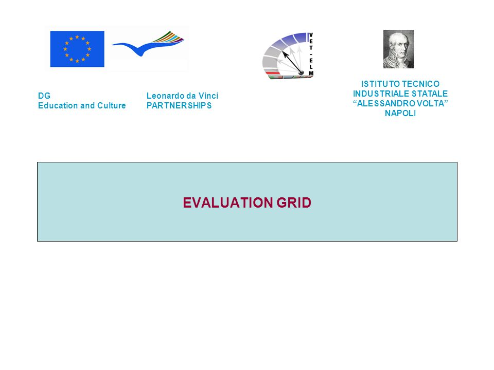 EVALUATION GRID Leonardo da Vinci PARTNERSHIPS DG Education and Culture ISTITUTO TECNICO INDUSTRIALE STATALE ALESSANDRO VOLTA NAPOLI