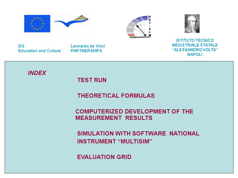 INDEX TEST RUN THEORETICAL FORMULAS COMPUTERIZED DEVELOPMENT OF THE MEASUREMENT RESULTS SIMULATION WITH SOFTWARE NATIONAL INSTRUMENT MULTISIM EVALUATION GRID Leonardo da Vinci PARTNERSHIPS DG Education and Culture ISTITUTO TECNICO INDUSTRIALE STATALE ALESSANDRO VOLTA NAPOLI