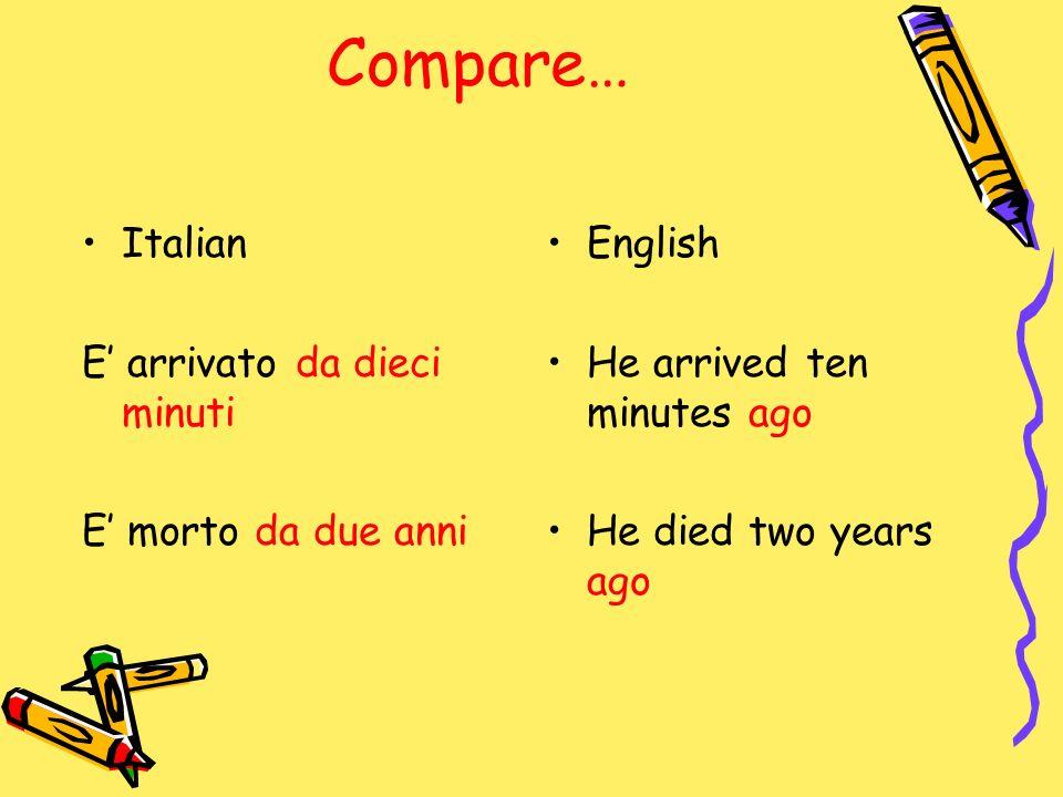 Compare… Italian E arrivato da dieci minuti E morto da due anni English He arrived ten minutes ago He died two years ago