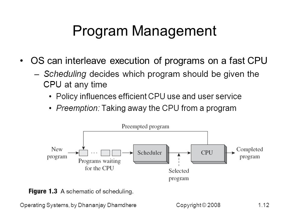 Operating Systems, by Dhananjay Dhamdhere Copyright © Program Management OS can interleave execution of programs on a fast CPU –Scheduling decides which program should be given the CPU at any time Policy influences efficient CPU use and user service Preemption: Taking away the CPU from a program