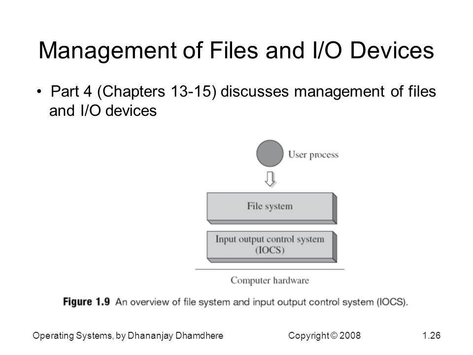 Operating Systems, by Dhananjay Dhamdhere Copyright © Management of Files and I/O Devices Part 4 (Chapters 13-15) discusses management of files and I/O devices