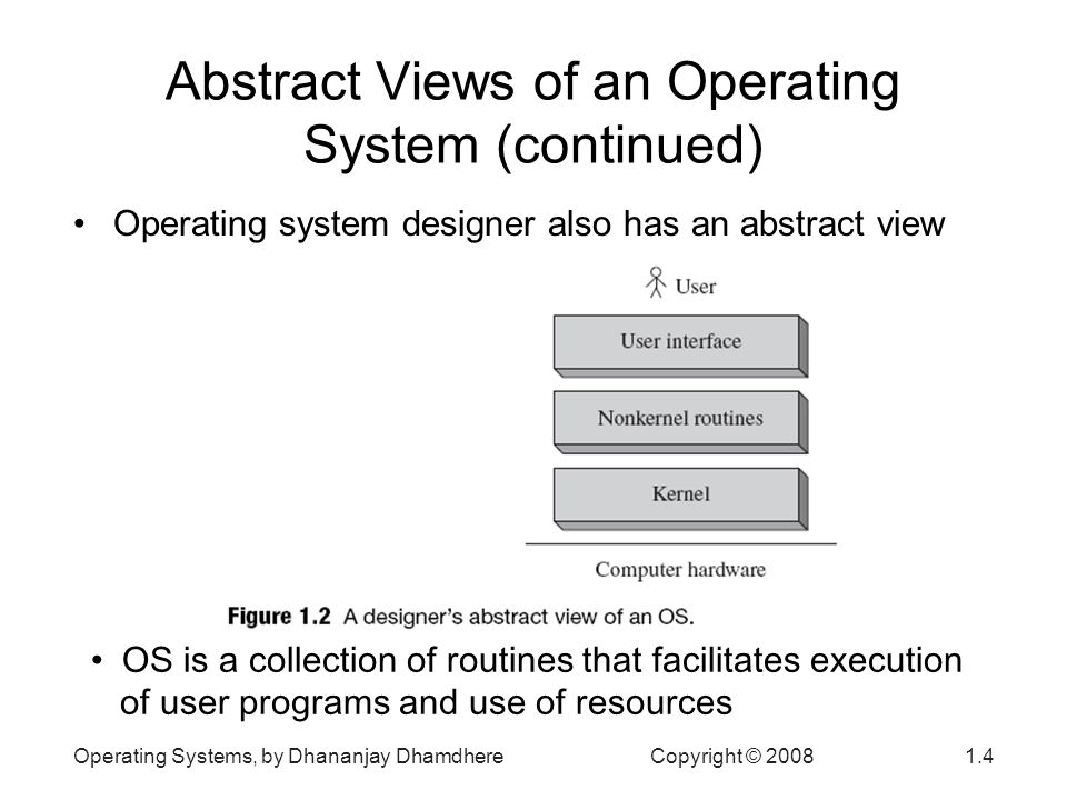 Operating Systems, by Dhananjay Dhamdhere Copyright © 20081.15 Resource Management (continued) A virtual resource is a fictitious resource –Abstract view of a resource taken by a program –Supported by OS through use of a real resource –Same real resource may support several virtual ones –Started with the use of virtual devices E.g., a print server Provides effect of having more resources Most OSs provide virtual memory –May execute a program bigger than size of RAM Some OSs create virtual machines –Each virtual machine can be allocated to a user