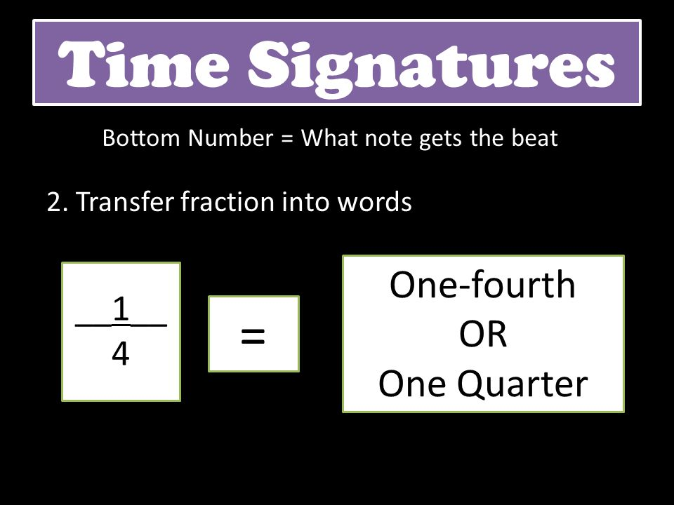 2. Transfer fraction into words Time Signatures __1__ 4 = One-fourth OR One Quarter Bottom Number = What note gets the beat