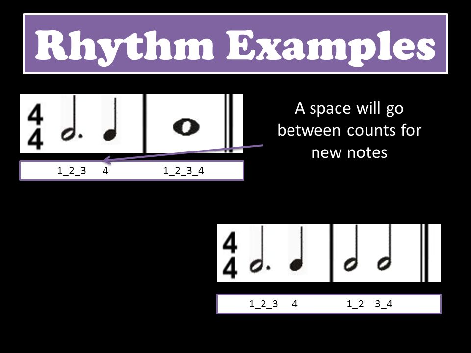 Rhythm Examples 1_2_3 4 1_2_3_4 1_2_3 4 1_2 3_4 A space will go between counts for new notes