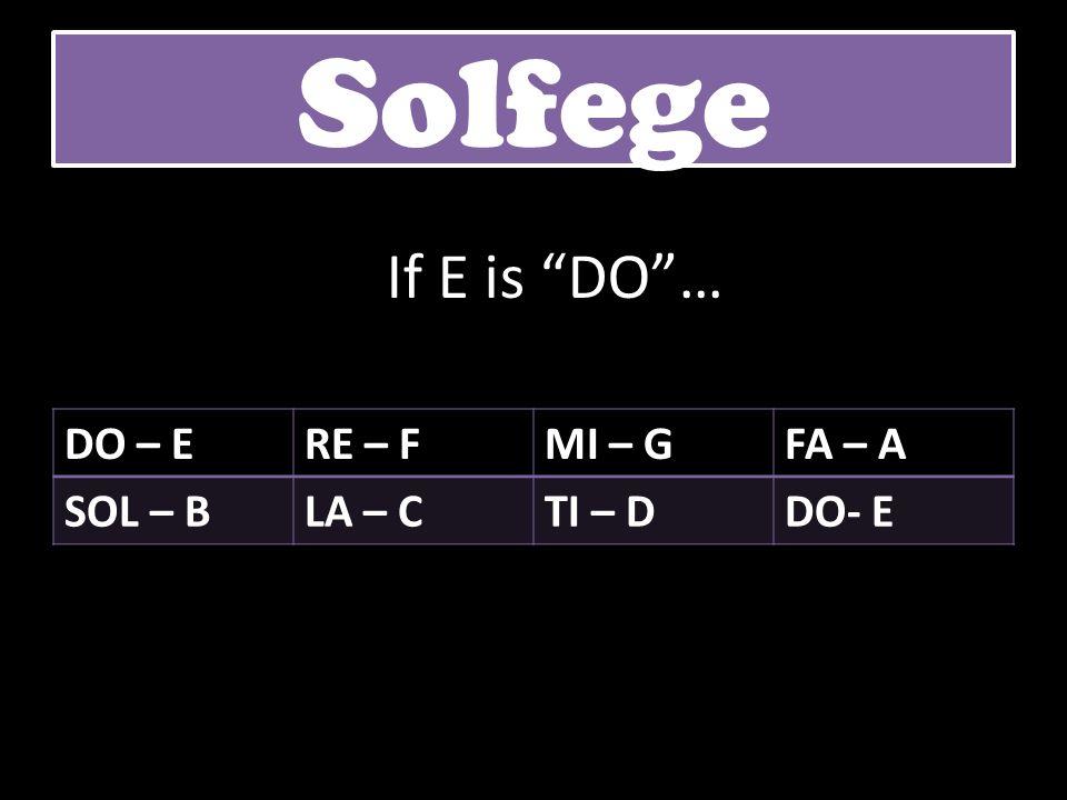 DO – ERE – FMI – GFA – A SOL – BLA – CTI – DDO- E Solfege If E is DO…