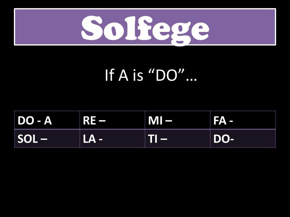 DO - ARE –MI –FA - SOL –LA -TI –DO- Solfege If A is DO…