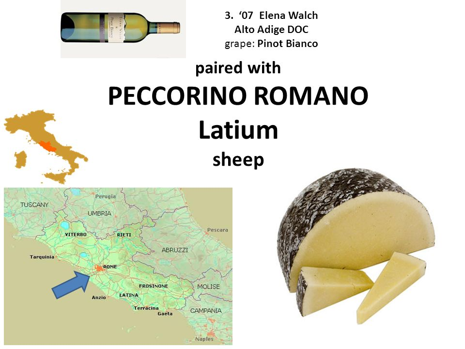 paired with PECCORINO ROMANO Latium sheep 3. 07 Elena Walch Alto Adige DOC grape: Pinot Bianco