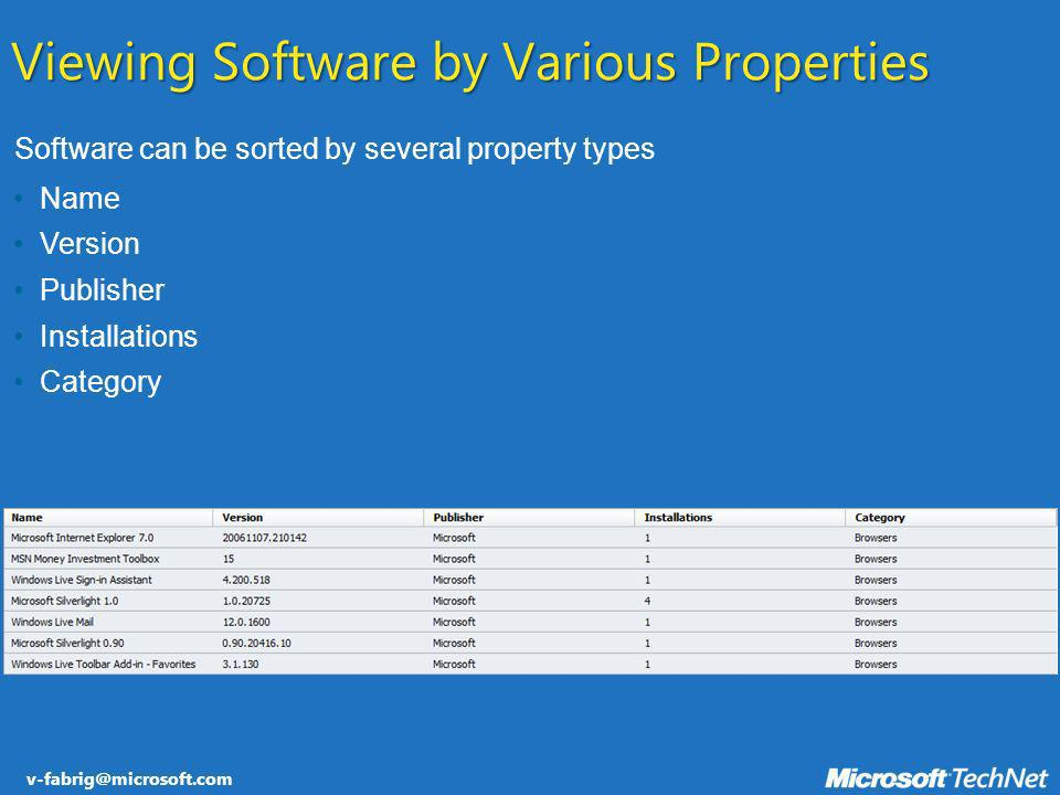 v-fabrig@microsoft.com Software can be sorted by several property types Viewing Software by Various Properties Name Version Publisher Installations Ca