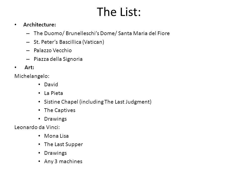 The List: Architecture: – The Duomo/ Brunelleschis Dome/ Santa Maria del Fiore – St.