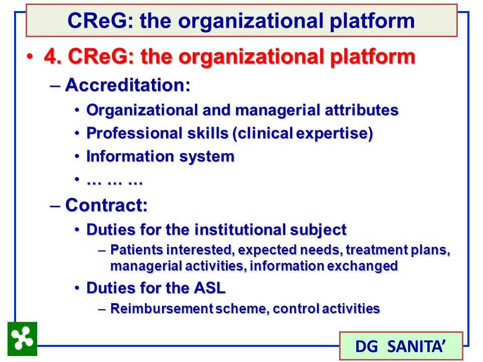 33 4. CReG: the organizational platform4.