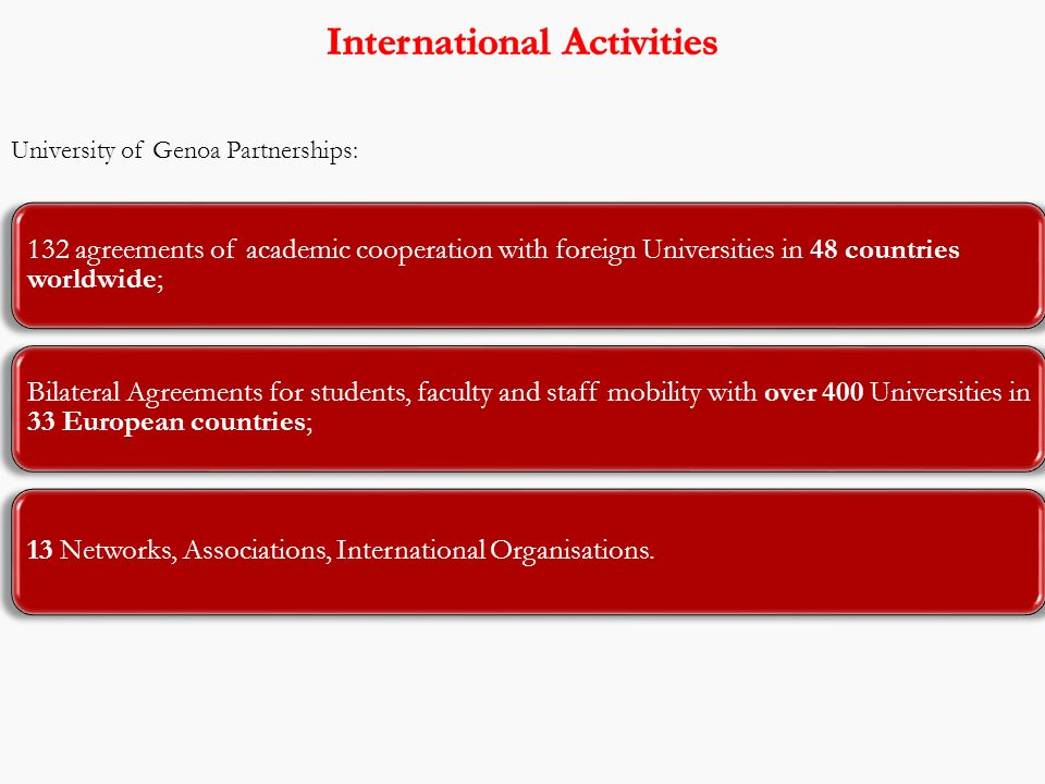 University of Genoa Partnerships: 132 agreements of academic cooperation with foreign Universities in 48 countries worldwide; Bilateral Agreements for students, faculty and staff mobility with over 400 Universities in 33 European countries; 13 Networks, Associations, International Organisations.