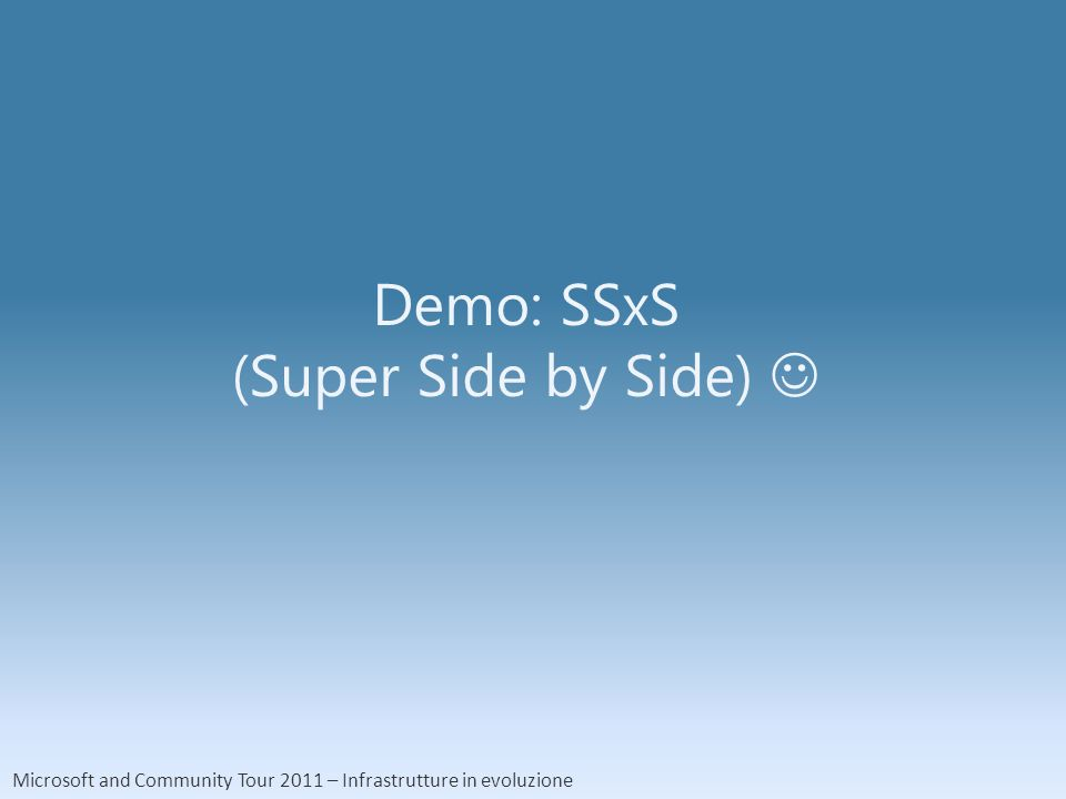Microsoft and Community Tour 2011 – Infrastrutture in evoluzione Demo: SSxS (Super Side by Side)