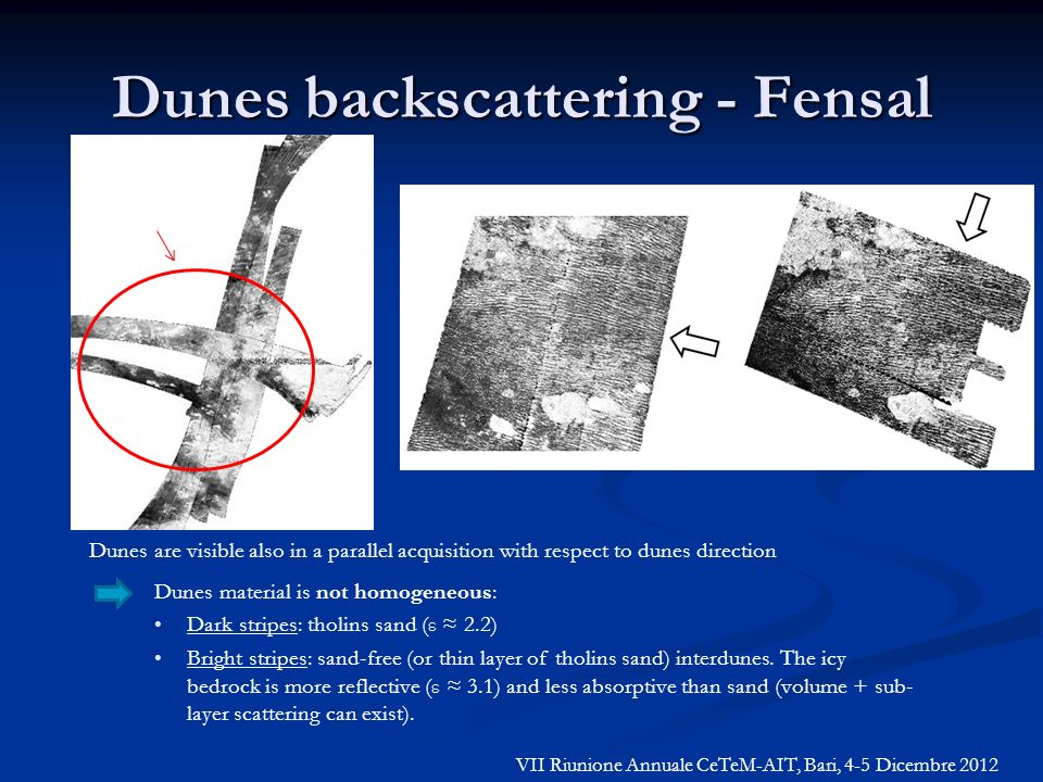 Dunes backscattering - Fensal T25T17 Dunes are visible also in a parallel acquisition with respect to dunes direction Dunes material is not homogeneou