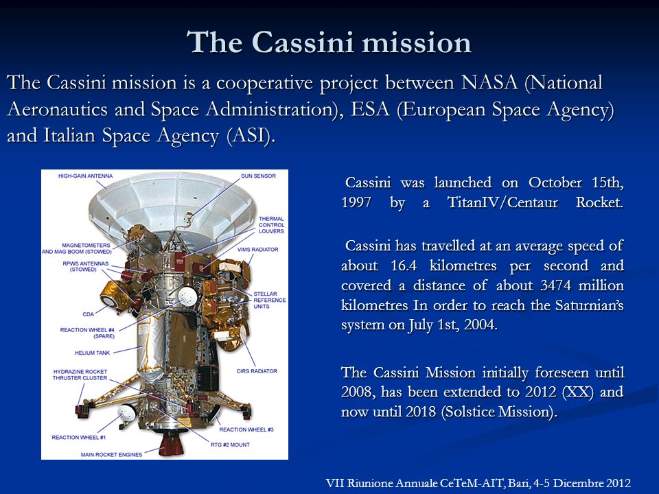 The Cassini mission is a cooperative project between NASA (National Aeronautics and Space Administration), ESA (European Space Agency) and Italian Spa