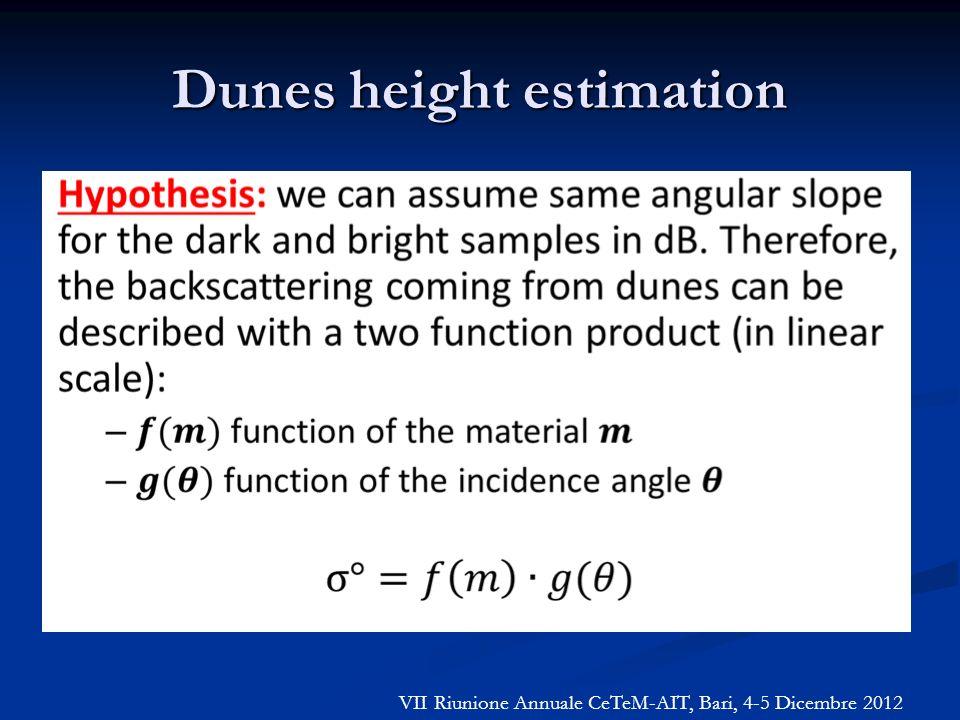 Dunes height estimation VII Riunione Annuale CeTeM-AIT, Bari, 4-5 Dicembre 2012