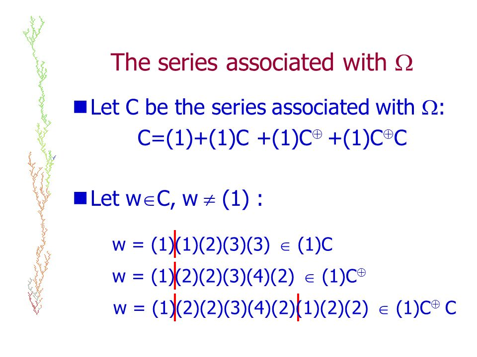 The series associated with Let C be the series associated with : C=(1)+(1)C +(1)C +(1)C C Let w C, w (1) : w = (1)(1)(2)(3)(3) (1)C w = (1)(2)(2)(3)(4