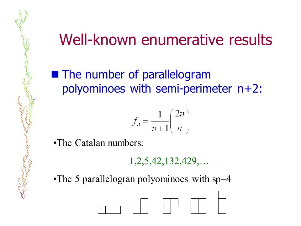 Well-known enumerative results The number of parallelogram polyominoes with semi-perimeter n+2: The Catalan numbers: 1,2,5,42,132,429,… The 5 parallelogran polyominoes with sp=4