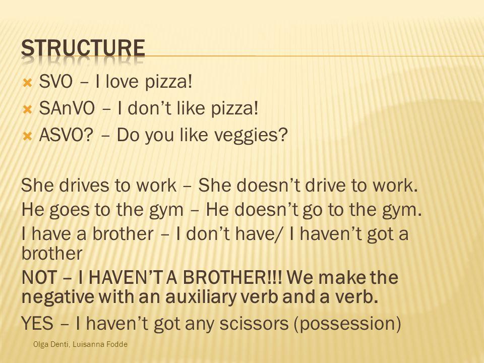 Olga Denti, Luisanna Fodde SVO – I love pizza.SAnVO – I dont like pizza.