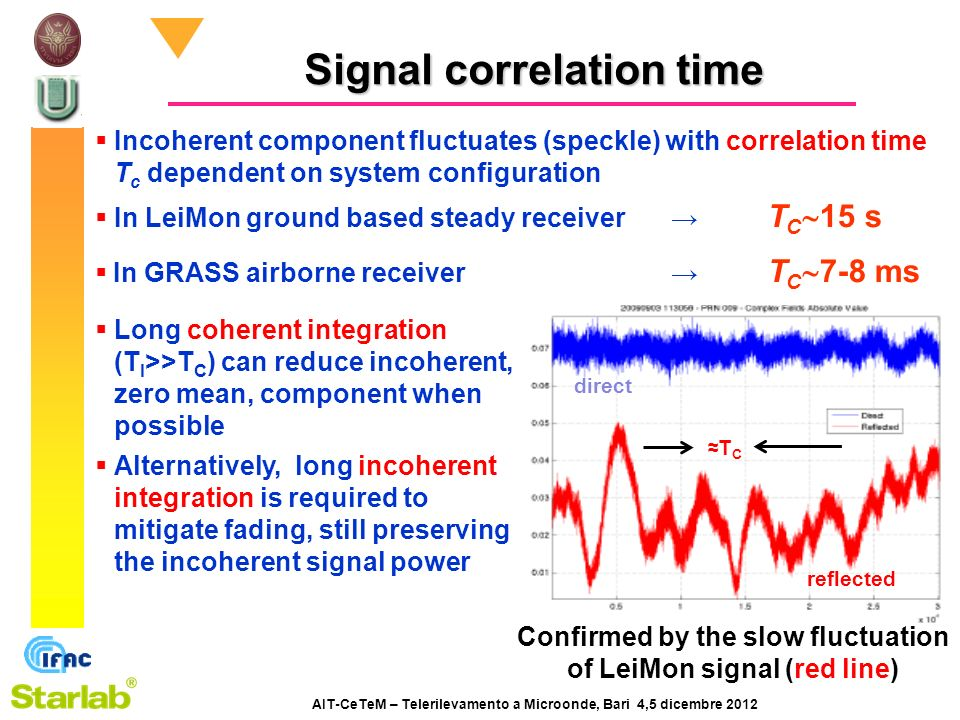 AIT-CeTeM – Telerilevamento a Microonde, Bari 4,5 dicembre 2012 Signal correlation time Incoherent component fluctuates (speckle) with correlation time T c dependent on system configuration In LeiMon ground based steady receiver T C 15 s In GRASS airborne receiver T C 7-8 ms Long coherent integration (T I >>T C ) can reduce incoherent, zero mean, component when possible Alternatively, long incoherent integration is required to mitigate fading, still preserving the incoherent signal power T C reflected direct Confirmed by the slow fluctuation of LeiMon signal (red line)