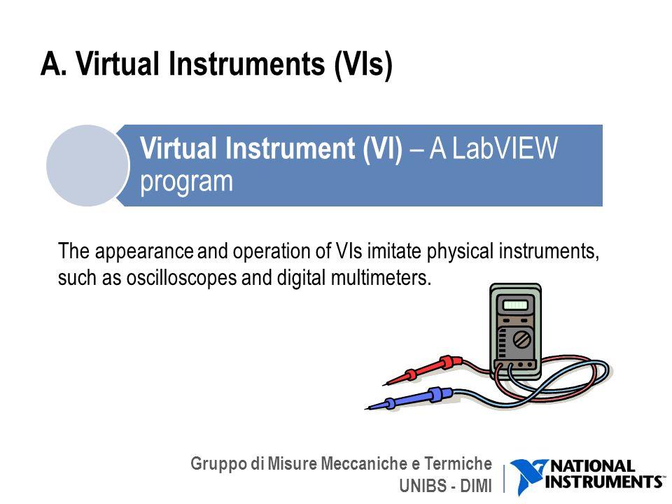 Gruppo di Misure Meccaniche e Termiche UNIBS - DIMI A. Virtual Instruments (VIs) The appearance and operation of VIs imitate physical instruments, suc