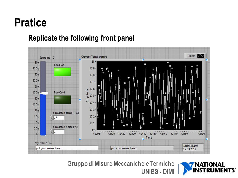 Gruppo di Misure Meccaniche e Termiche UNIBS - DIMI Pratice Replicate the following front panel