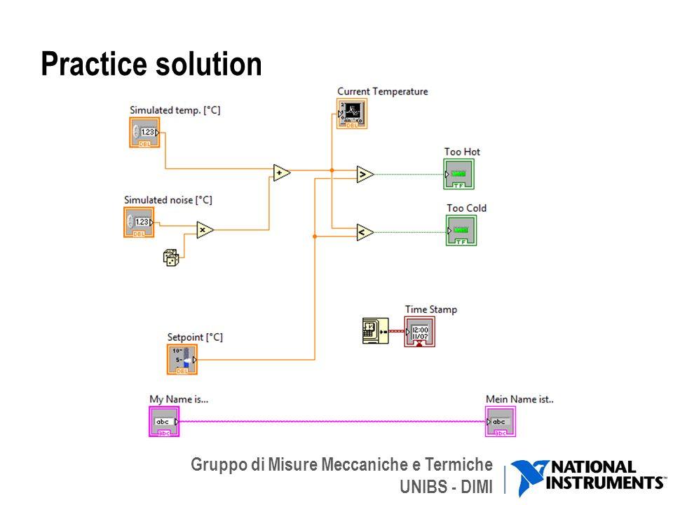 Gruppo di Misure Meccaniche e Termiche UNIBS - DIMI Practice solution