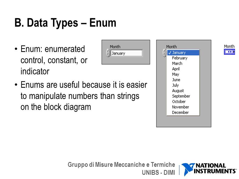 Gruppo di Misure Meccaniche e Termiche UNIBS - DIMI B. Data Types – Enum Enum: enumerated control, constant, or indicator Enums are useful because it