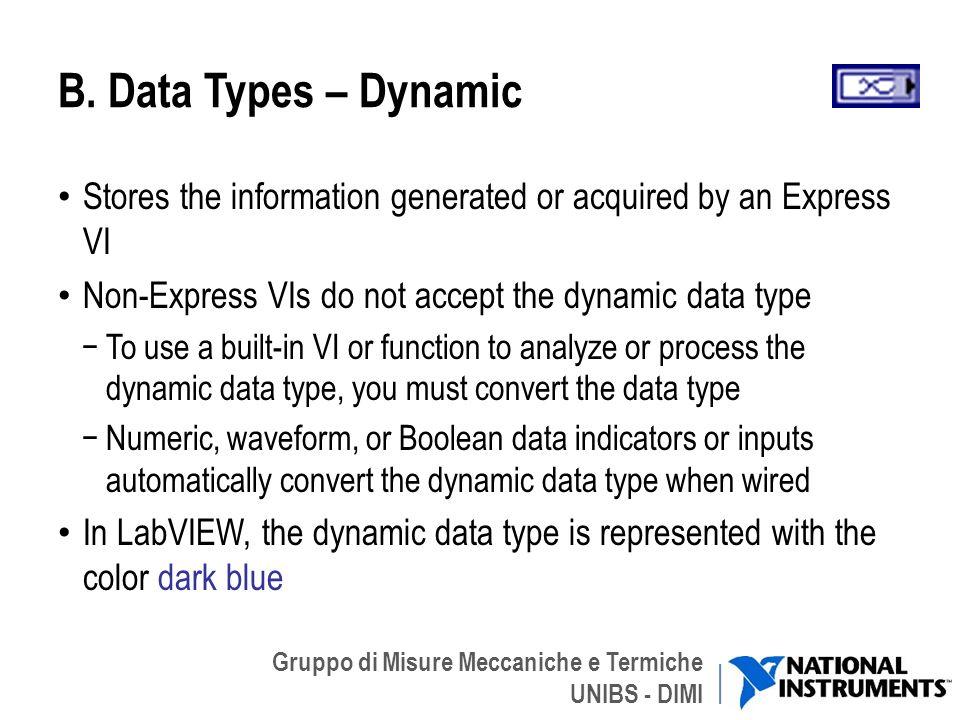 Gruppo di Misure Meccaniche e Termiche UNIBS - DIMI B. Data Types – Dynamic Stores the information generated or acquired by an Express VI Non-Express