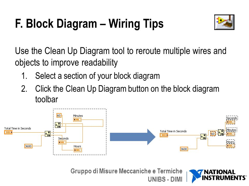 Gruppo di Misure Meccaniche e Termiche UNIBS - DIMI F. Block Diagram – Wiring Tips Use the Clean Up Diagram tool to reroute multiple wires and objects