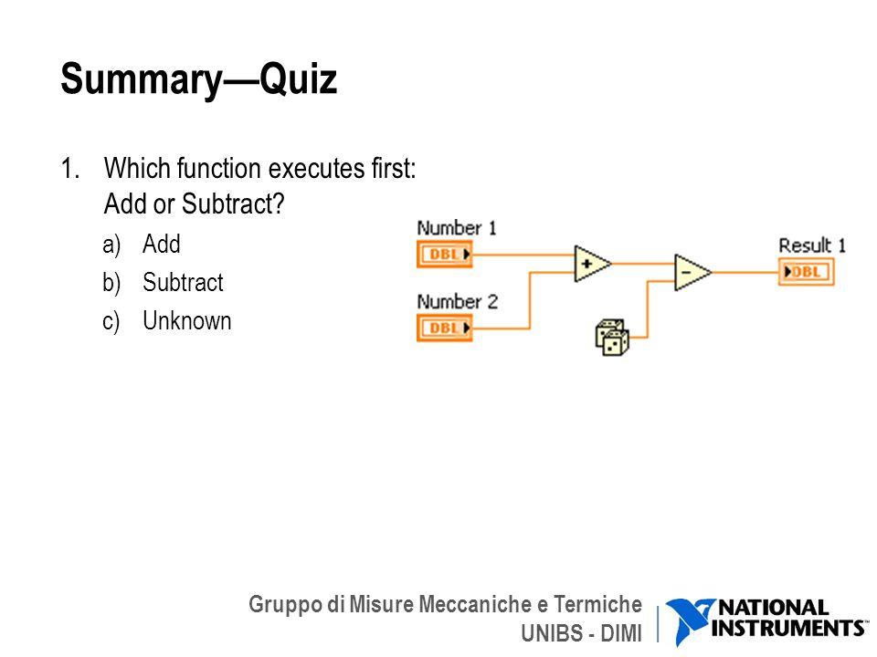 Gruppo di Misure Meccaniche e Termiche UNIBS - DIMI SummaryQuiz 1.Which function executes first: Add or Subtract? a)Add b)Subtract c)Unknown 41