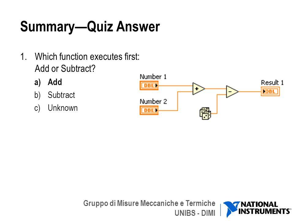 Gruppo di Misure Meccaniche e Termiche UNIBS - DIMI SummaryQuiz Answer 1.Which function executes first: Add or Subtract? a)Add b)Subtract c)Unknown 42
