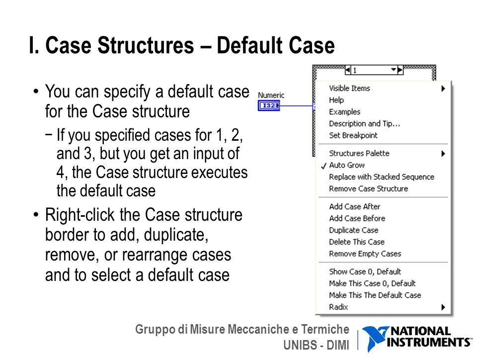 Gruppo di Misure Meccaniche e Termiche UNIBS - DIMI I. Case Structures – Default Case You can specify a default case for the Case structure If you spe