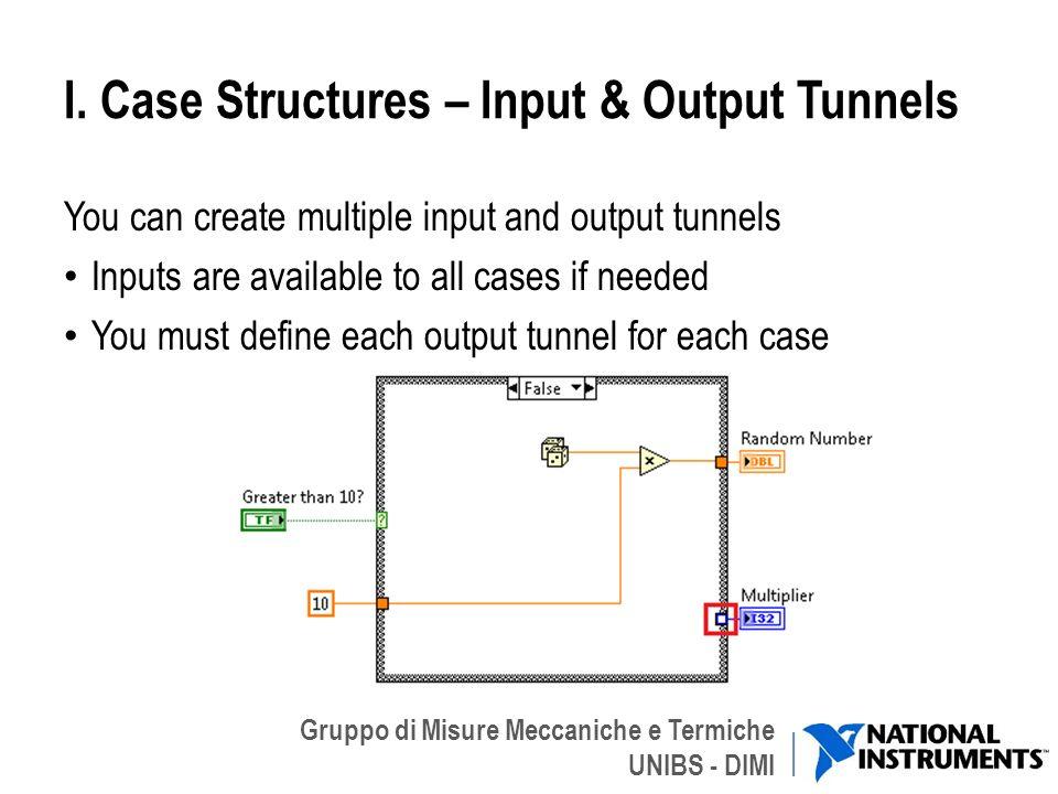 Gruppo di Misure Meccaniche e Termiche UNIBS - DIMI I. Case Structures – Input & Output Tunnels You can create multiple input and output tunnels Input