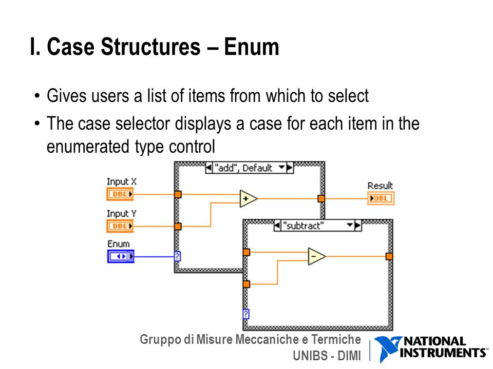 Gruppo di Misure Meccaniche e Termiche UNIBS - DIMI I. Case Structures – Enum Gives users a list of items from which to select The case selector displ