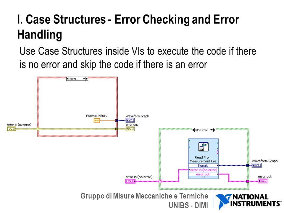 Gruppo di Misure Meccaniche e Termiche UNIBS - DIMI I. Case Structures - Error Checking and Error Handling Use Case Structures inside VIs to execute t