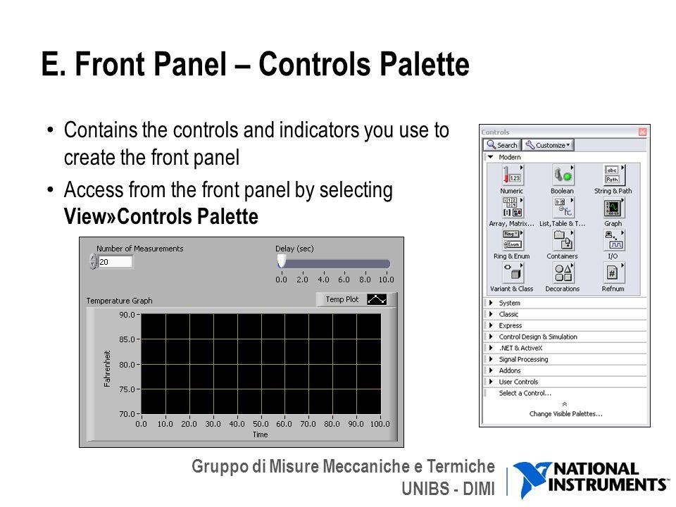 Gruppo di Misure Meccaniche e Termiche UNIBS - DIMI E. Front Panel – Controls Palette Contains the controls and indicators you use to create the front