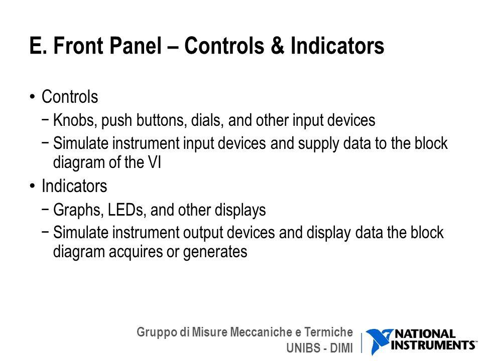 Gruppo di Misure Meccaniche e Termiche UNIBS - DIMI E. Front Panel – Controls & Indicators Controls Knobs, push buttons, dials, and other input device
