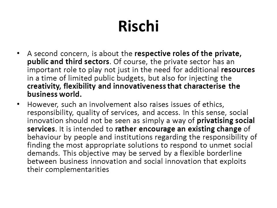 Rischi A second concern, is about the respective roles of the private, public and third sectors. Of course, the private sector has an important role t