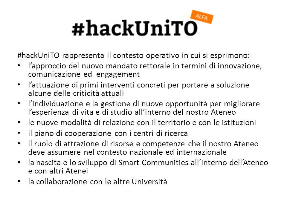 #hackUniTO rappresenta il contesto operativo in cui si esprimono: lapproccio del nuovo mandato rettorale in termini di innovazione, comunicazione ed e