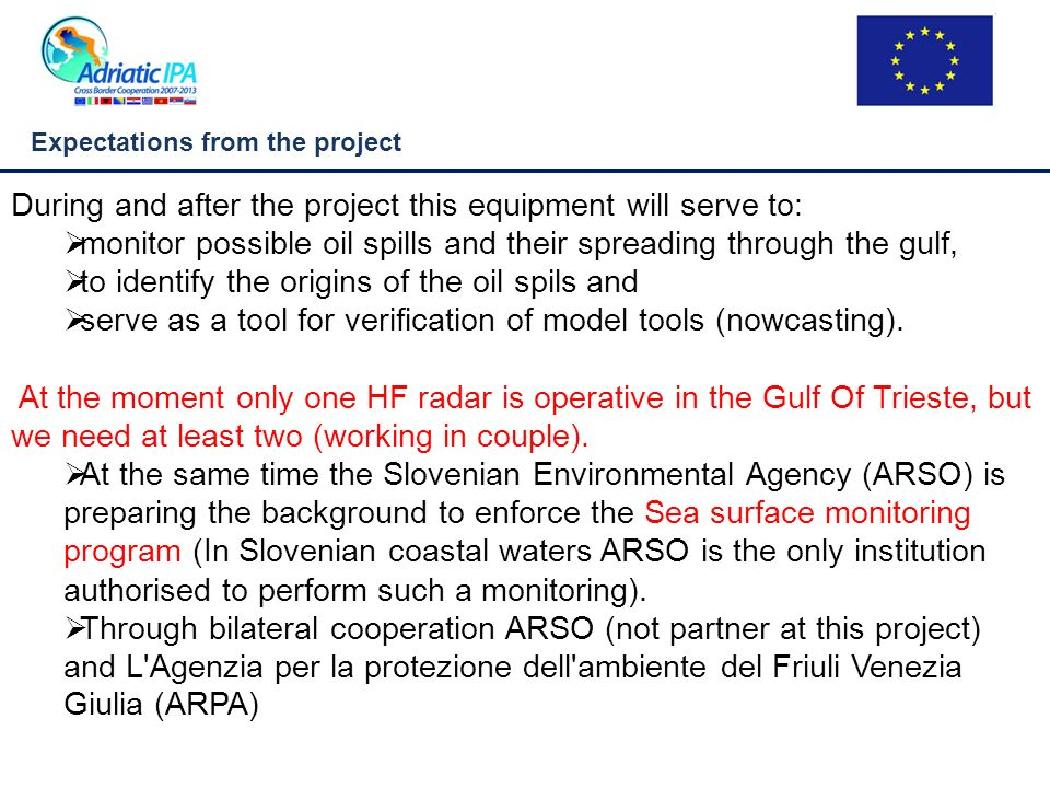 Our contribution to HAZADR Exchange of experiences: How to establish sea surface monitoring to effectively prevent the spreading of oil spills (using HF radars).