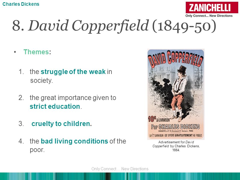8. David Copperfield (1849-50) Charles Dickens Themes: 1.the struggle of the weak in society. 2.the great importance given to strict education. 3. cru