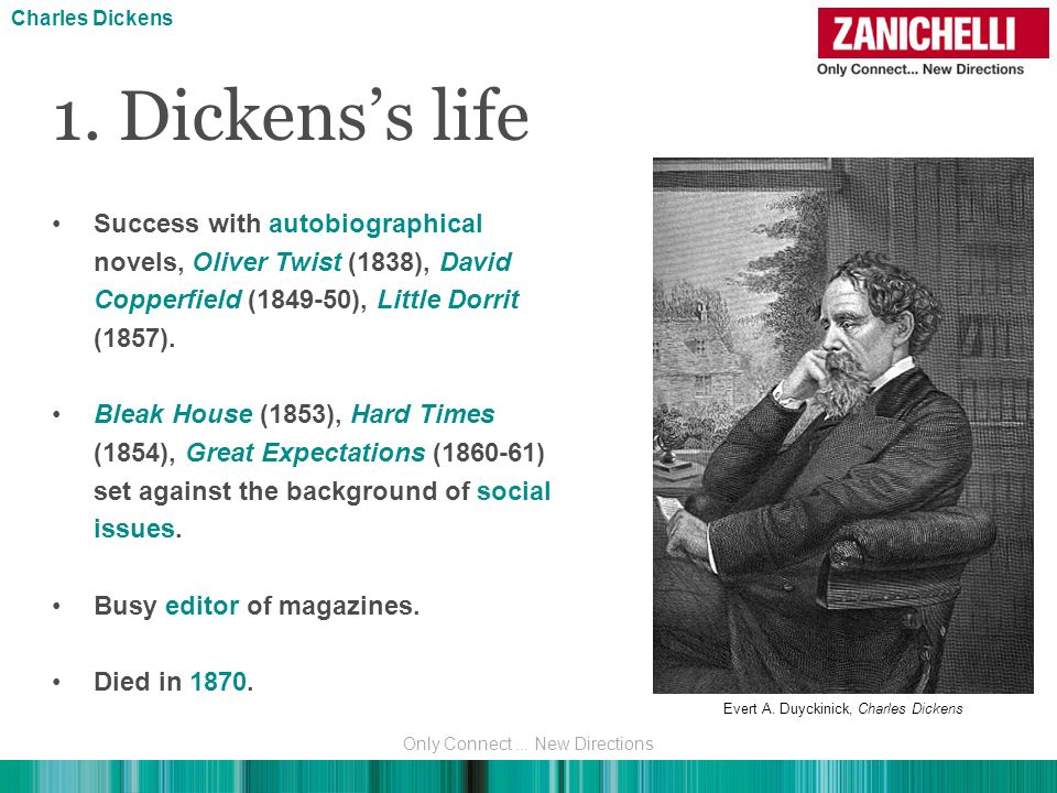 1. Dickenss life Success with autobiographical novels, Oliver Twist (1838), David Copperfield (1849-50), Little Dorrit (1857). Bleak House (1853), Har