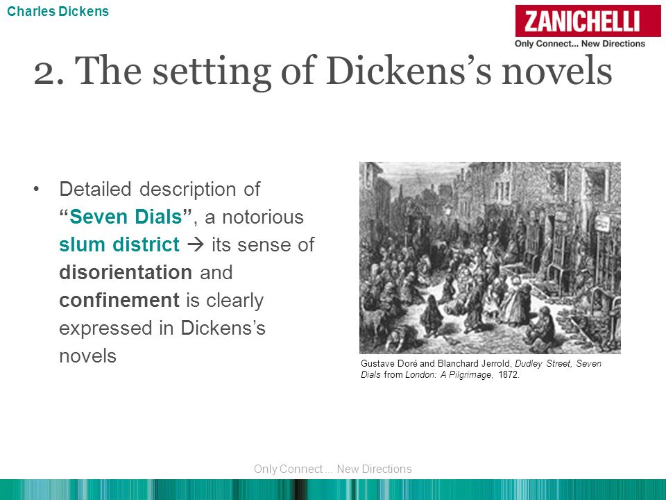 Detailed description ofSeven Dials, a notorious slum district its sense of disorientation and confinement is clearly expressed in Dickenss novels 2. T