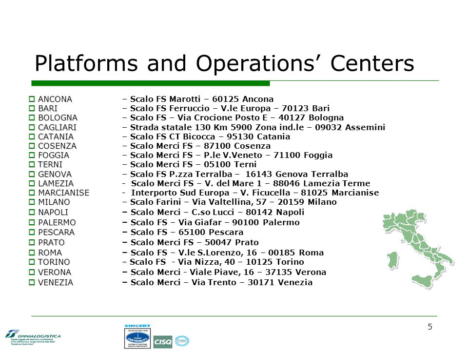 5 Platforms and Operations Centers ANCONA ANCONA – Scalo FS Marotti – 60125 Ancona BARI BARI – Scalo FS Ferruccio – V.le Europa – 70123 Bari BOLOGNA BOLOGNA – Scalo FS – Via Crocione Posto E – 40127 Bologna CAGLIARI CAGLIARI – Strada statale 130 Km 5900 Zona ind.le – 09032 Assemini CATANIA CATANIA – Scalo FS CT Bicocca – 95130 Catania COSENZA COSENZA – Scalo Merci FS – 87100 Cosenza FOGGIA FOGGIA – Scalo Merci FS – P.le V.Veneto – 71100 Foggia TERNI TERNI – Scalo Merci FS – 05100 Terni GENOVA GENOVA – Scalo FS P.zza Terralba – 16143 Genova Terralba LAMEZIA LAMEZIA- Scalo Merci FS – V.