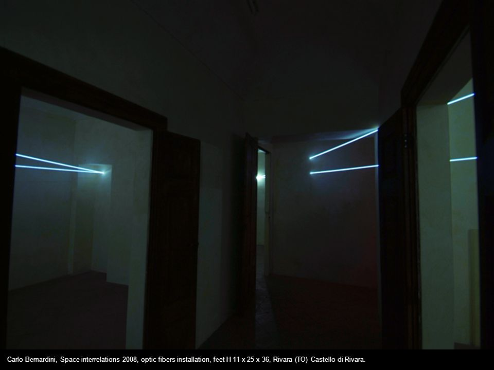 Carlo Bernardini, Space interrelations 2008, optic fibers installation, feet H 11 x 25 x 36, Rivara (TO) Castello di Rivara.