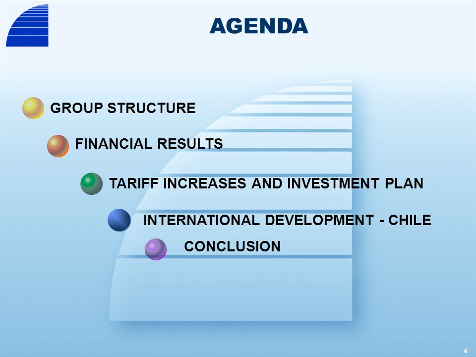 7 GROUP STRUCTURE FINANCIAL RESULTS CONCLUSION INTERNATIONAL DEVELOPMENT - CHILE TARIFF INCREASES AND INVESTMENT PLAN