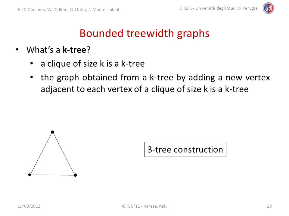 E. Di Giacomo, W. Didimo, G. Liotta, F. Montecchiani D.I.E.I. - Università degli Studi di Perugia ICTCS 12 - Varese, Italy Bounded treewidth graphs 19