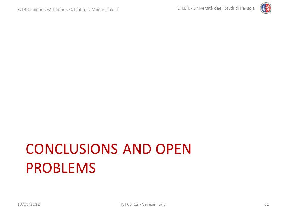 E. Di Giacomo, W. Didimo, G. Liotta, F. Montecchiani D.I.E.I. - Università degli Studi di Perugia ICTCS 12 - Varese, Italy CONCLUSIONS AND OPEN PROBLE